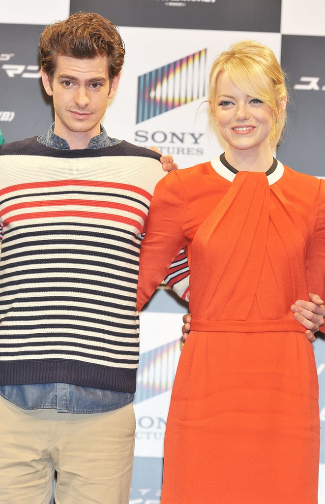 Andrew Garfield and Emma Stone were arm-in-arm for the press conference for The Amazing Spider-Man in Japan.