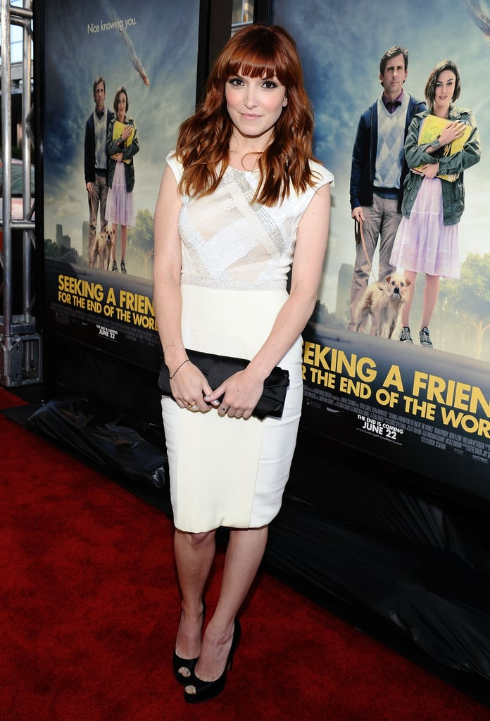 Lorene Scafaria wore a white dress for the LA premiere of Seeking a Friend For the End of the World.