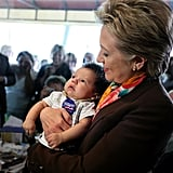 Hillary Clinton campaigned with a tiny supporter in Rapid City, IA, back in 2004.