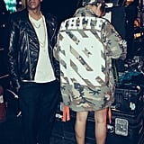 Jay Z wore a leather jacket, and Beyoncé stayed warm in an oversize camouflage jacket. Source: Tumblr user beyonce