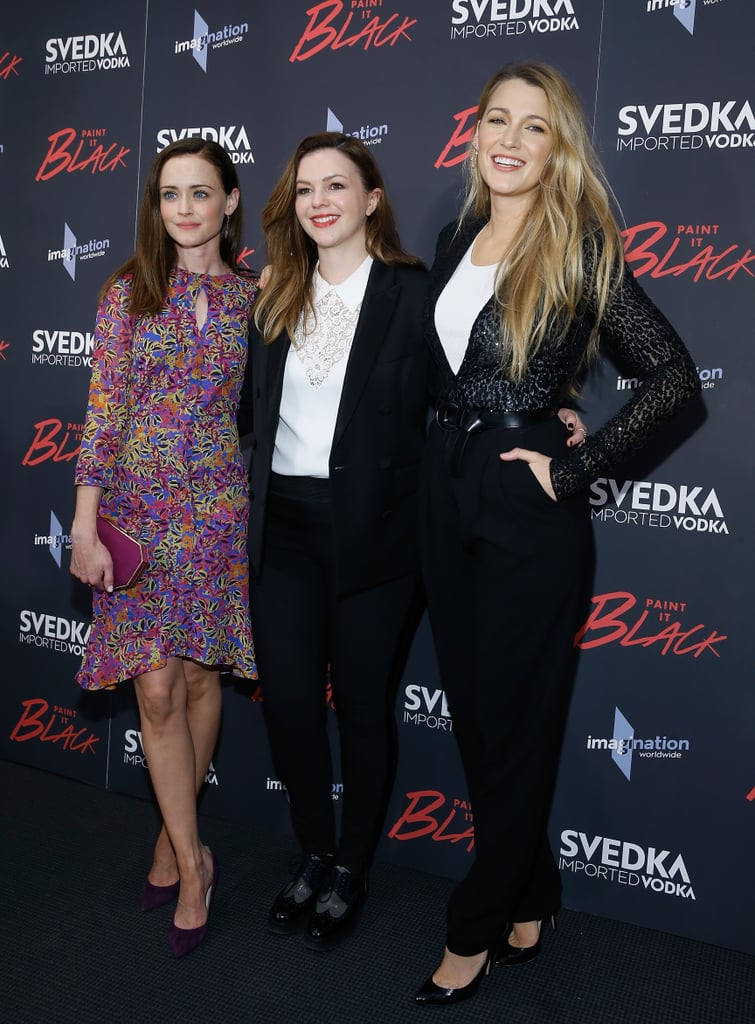 "It's been a little over a decade since the first Sisterhood of the Traveling Pants movie premiered, but the ladies are still as tight as ever. On Monday, Blake Lively and Alexis Bledel stepped out to support Amber Tamblyn's directorial debut at the premiere of Paint It Black in NYC. The trio was as cute as can be as they posed for photos together, but sadly, America Ferrera couldn't make it as she was busy with NBC upfronts. While promoting the film, Amber — who became a mom earlier this year — was asked how she keeps her friendship with the women going, to which she responded, ""It's so funny because some of us having nothing in common. Even just Blake and I, her understanding of fashion is beyond me and I'm constantly texting her pictures like, 'Should I wear this?' . . . I think we all give to each other and share with each other."" There's been plenty of talk about about a third Sisterhood of the Traveling Pants installment since the second came out in 2008, and Blake renewed hope once again when she told People, ""There's a strong chance there might be a third. The four of us are still best friends. To be able to create something together again has always been a dream of ours."" Hopefully we'll have more details soon!"