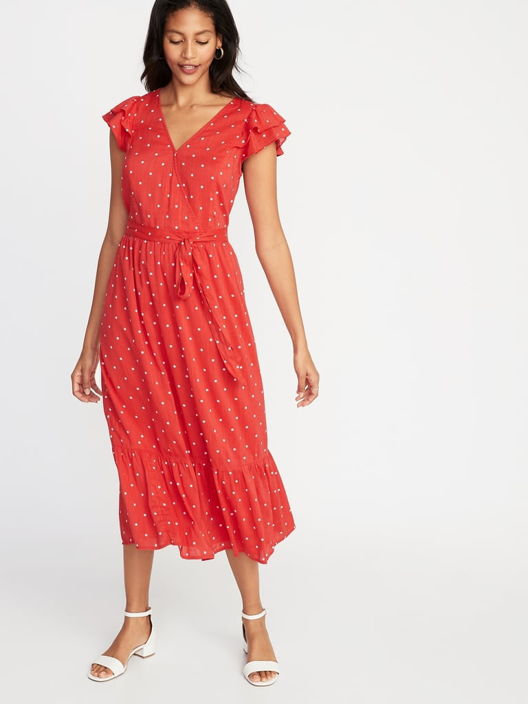 d4245fa9393b Old Navy Waist-Defined Wrap-Front Midi Dress | Best Old Navy Dresses ...