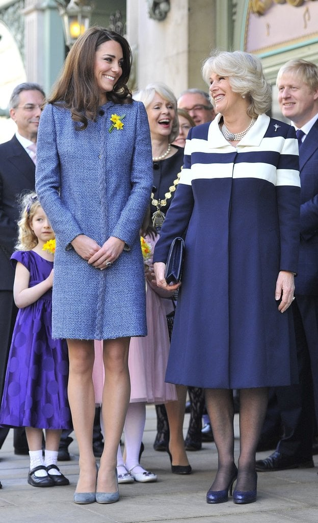 Kate Middleton looked ready for Spring in a gorgeous bright blue Missoni jacket and Rupert Sanderson pumps as she stepped out alongside the queen and Camilla, Duchess of Cornwall, for tea at Fortnum & Mason food store in London.