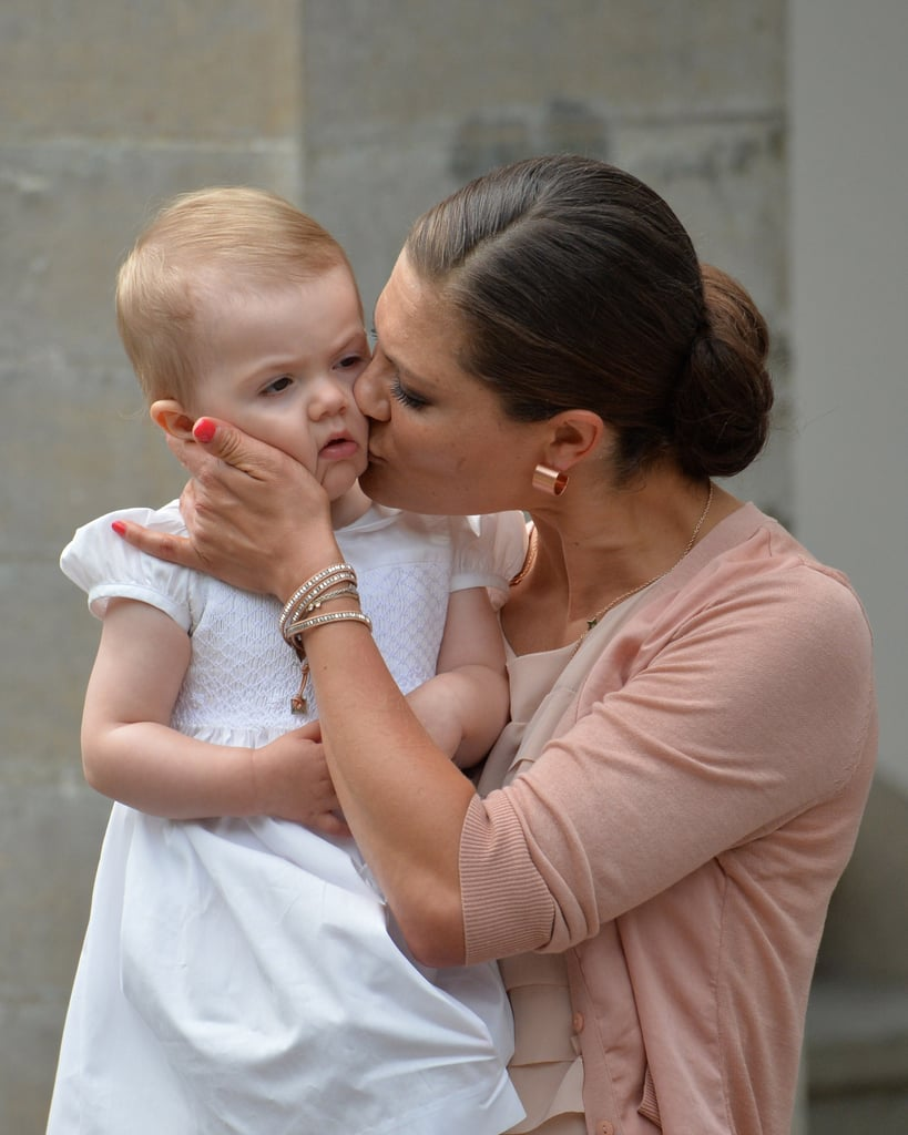 Princess Victoria gave her daughter, Princess Estelle, a kiss.