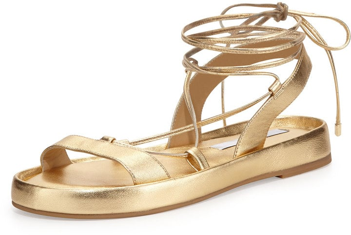 Diane von Furstenberg Susie Metallic Leather Sandals ($199)