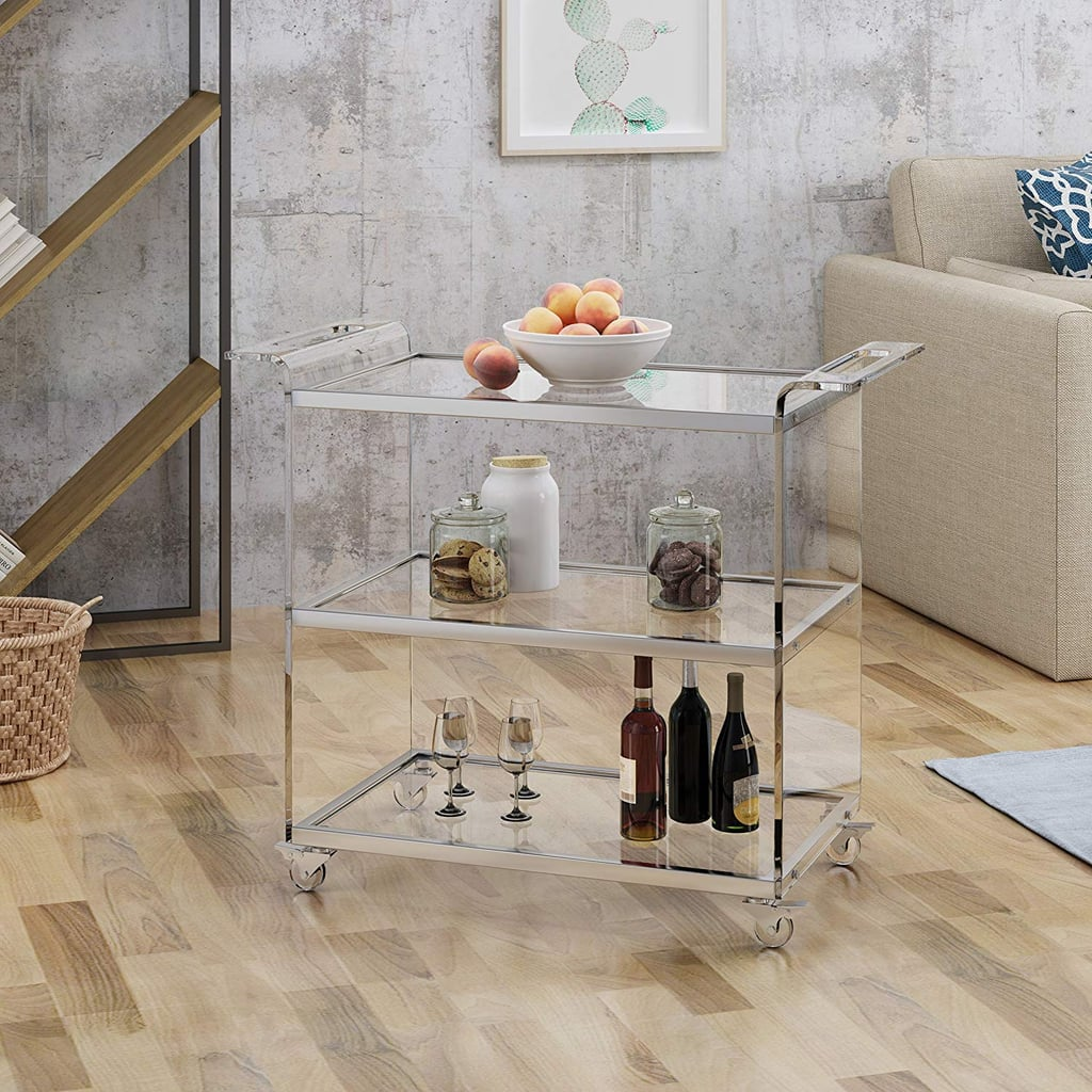 Christopher Knight Home Evee Acrylic Bar Trolley With Glass Shelves