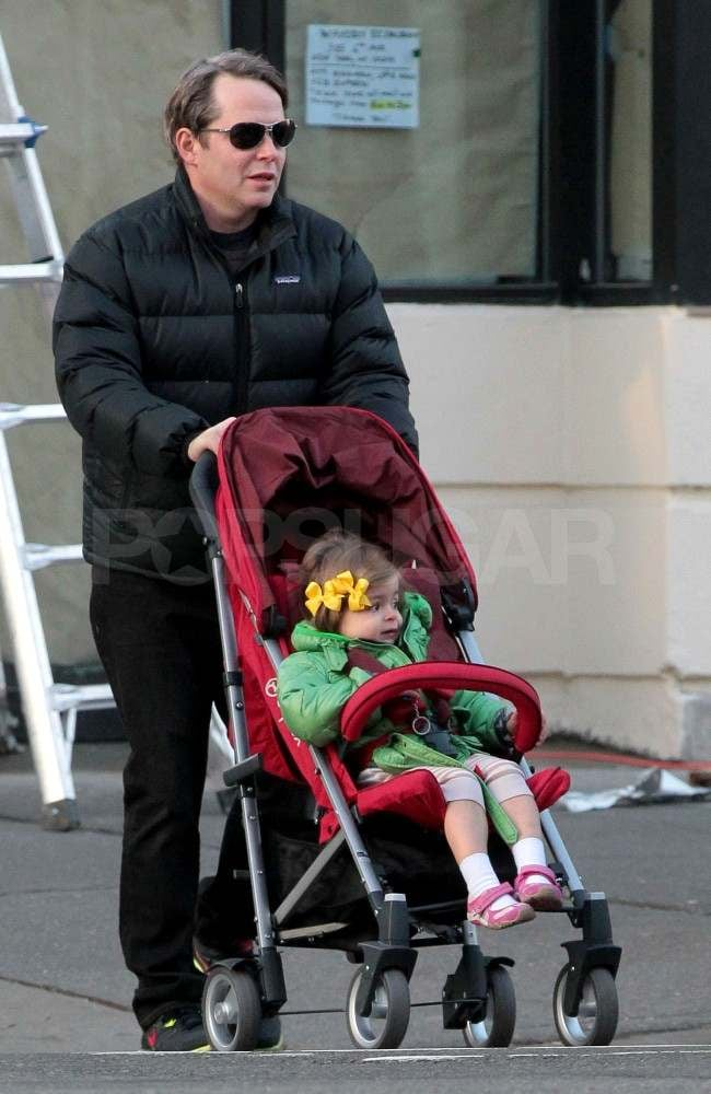 Matthew Broderick pushes Tabitha in her stroller.