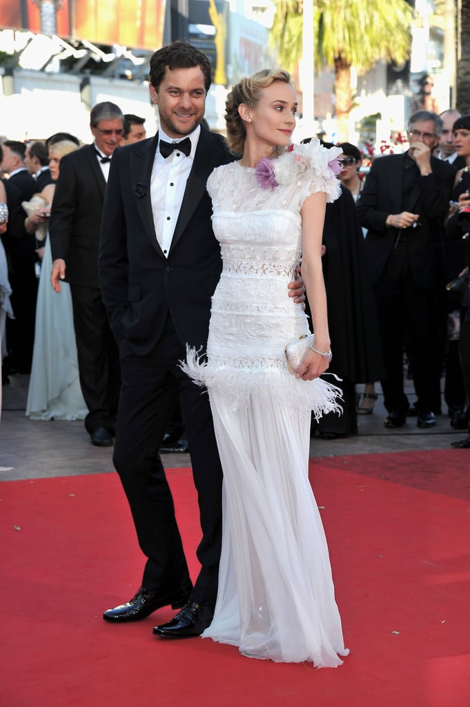 Diane Kruger, in a white Nina Ricci gown, and Joshua Jackson hit the red carpet in France today for the Cannes Film Festival premiere of Killing Them Softly. Diane's a juror at the glamorous event, though she and Josh have been escaping the festivities for couple's time. Diane and Josh kissed during dinner with friends last night and have also stepped out to party with pals. Also stepping out for this afternoon's screening is the film's star, Brad Pitt. He posed this morning at a photocall and chatted with reporters during a press conference. Brad talked about his wedding to Angelina Jolie, sharing that they have yet to set a date.