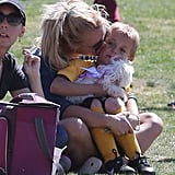Britney Spears kissed Jayden while he held their dog.