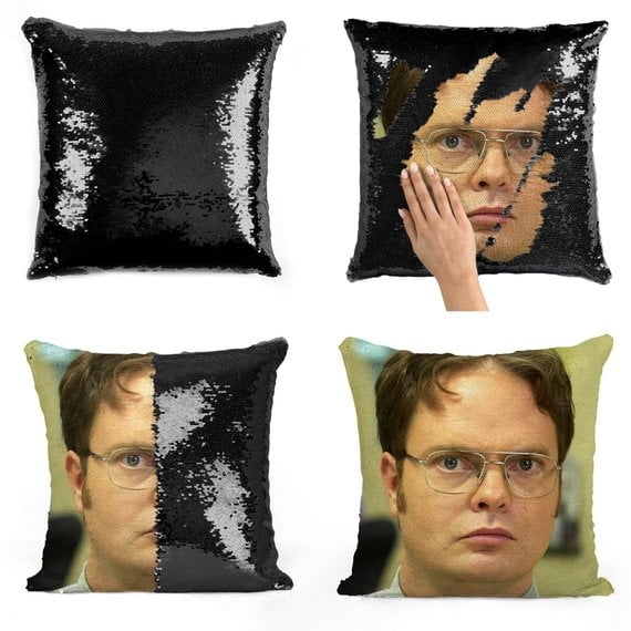 Dwight Schrute Serious Face Sequin Pillow