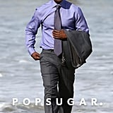 Don Cheadle hit the LA beach on Thursday to film House of Lies.