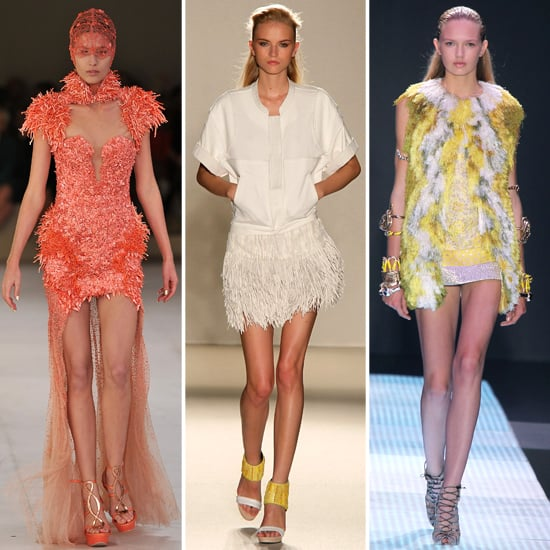 Birdlike Spring elegance in a variety of colors and moods.  From left to right: Alexander McQueen, Barbara Bui, and Giambattista Valli.