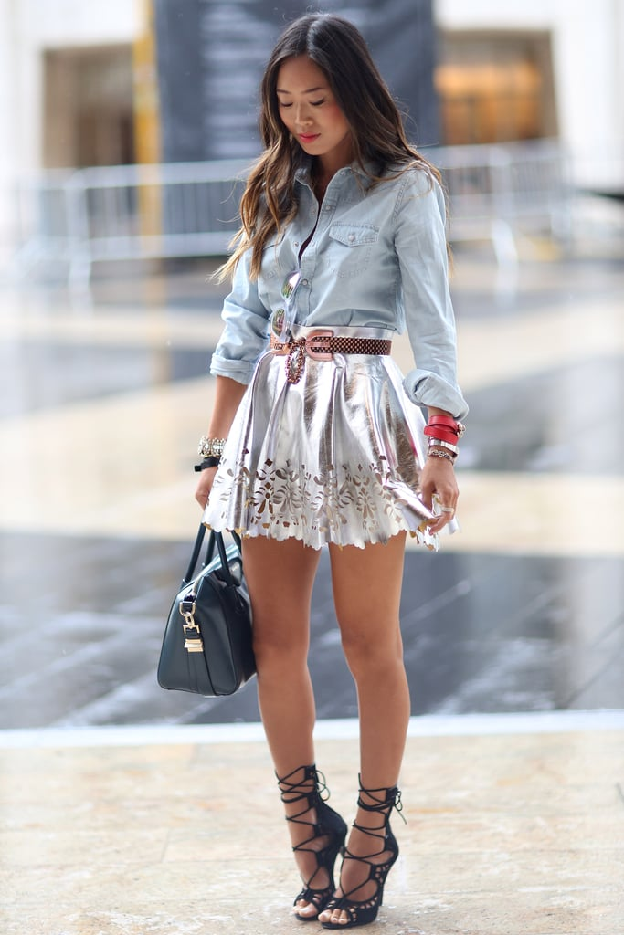 A metallic fit-and-flare skirt and lace-up heels were the perfect counters to a denim button-down. Source: Greg Kessler