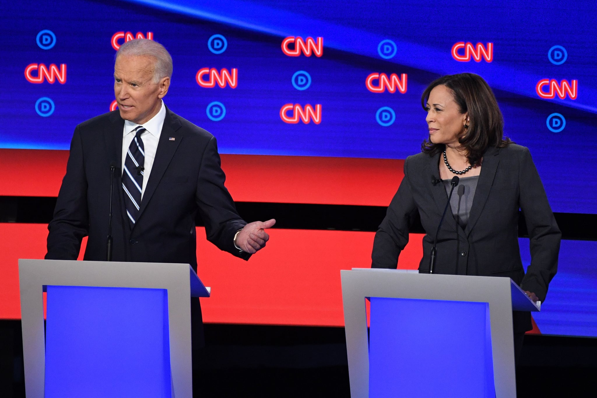 Democratic presidential hopeful US Senator from California Kamala Harris (R) looks on as Former Vice President Joe Biden speaks during the second round of the second Democratic primary debate of the 2020 presidential campaign season hosted by CNN at the Fox Theatre in Detroit, Michigan on July 31, 2019. (Photo by Jim WATSON / AFP) (Photo by JIM WATSON/AFP via Getty Images)