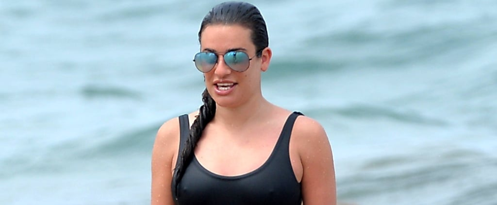 Lea Michele Black One Piece Swimsuit