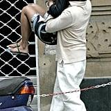 Jay Z gave Beyoncé a bear hug while exploring Portofino, Italy, in June 2005.