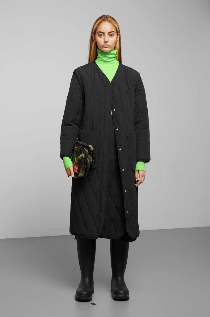 Weekday Noor Quilted Lightweight Coat in Black