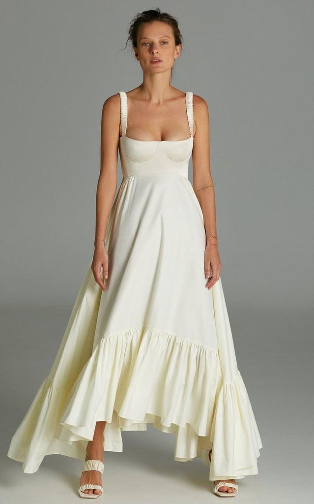 Anna October Snowdrop Asymmetric Cotton-Blend Maxi Dress