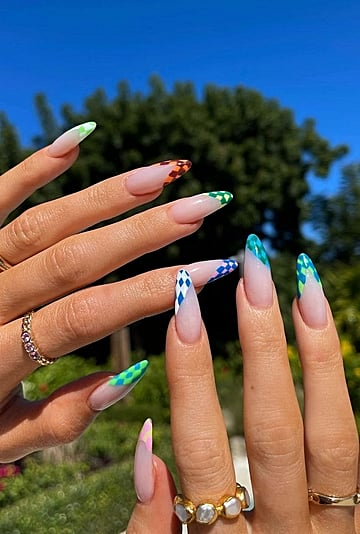 Kylie Jenner's French Manicure Has a Checkered Twist