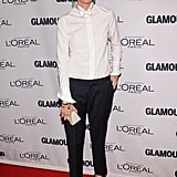 Jenna Lyons gave her trouser look a touch of glamour with a pair of J.Crew cap-toe heels and jewel-drop earrings.