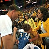 When Riley Helped Her Dad With His Pregame Ritual