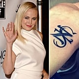 "The ""Z"" on Malin Akerman's wrist was originally for Roberto Zincone. She had it changed to an ""S"" for her son Sebastian after the couple's marriage ended.  Source: Getty, Instagram user therealmalinakerman"