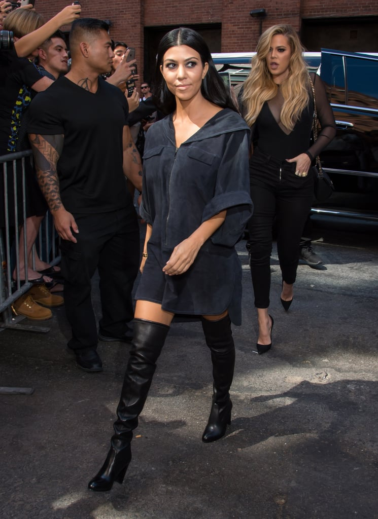 Taking A Short Shirt Dress Up A Notch With A Pair Of Over The Knee Kourtney Kardashian Street