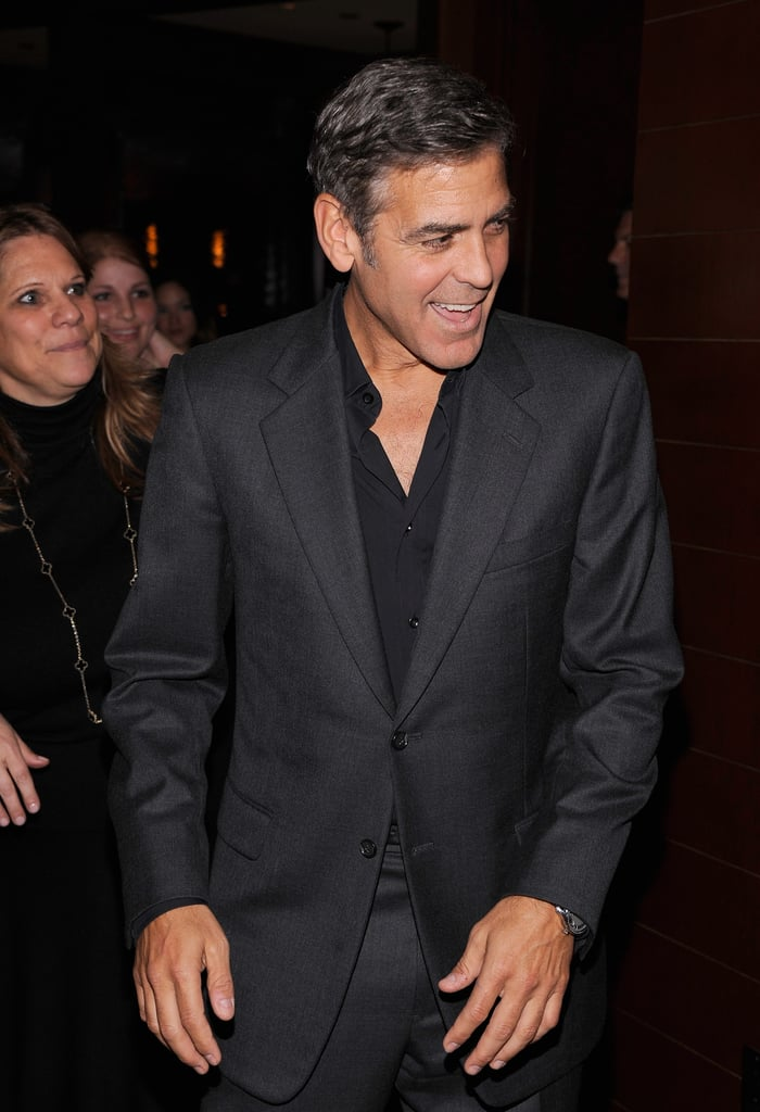 George Clooney wore all back at the NYC premiere of Argo.