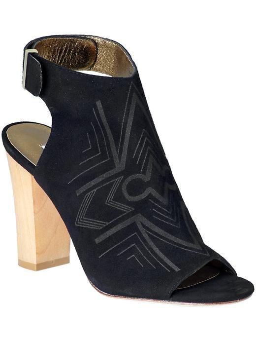 Cynthia Vincent black wooden heel booties ($240, originally $345)