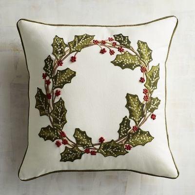 Holly Wreath Pillow ($35)