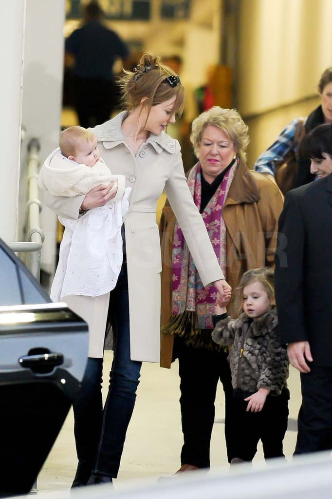 Nicole Kidman landed in Australia with Sunday and Faith.