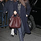Katie Holmes smiled on her way into one of her last showings of Dead Accounts on Broadway.