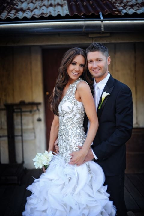 michael clarke marries kyly boldy in alex perry wedding