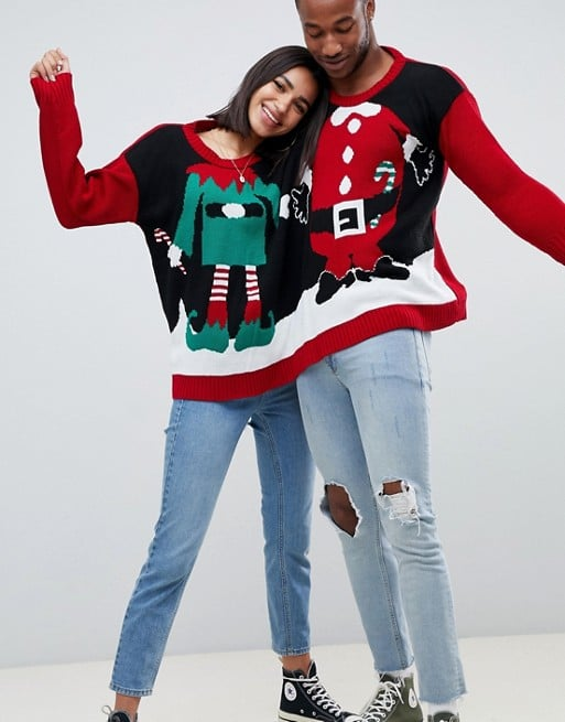 2 Person Christmas Sweater.Asos Boohoo Santa And Elf Two Person Holiday Sweater 44