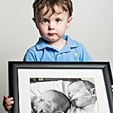 Noah, born at 32 weeks. His twin sister, Victoria, left in the framed picture, died one month after birth.