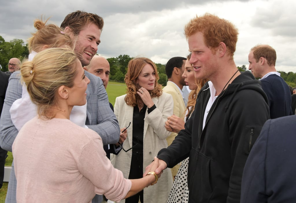 Prince Harry met Chris Hemsworth, Elsa Pataky, and their daughter, India, at London's Audi Polo Challenge in May 2015.