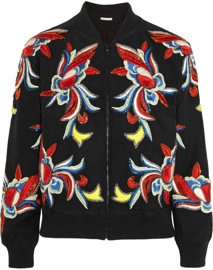 Alice + Olivia Felisa Embellished Embroidered Silk Bomber Jacket ($700)