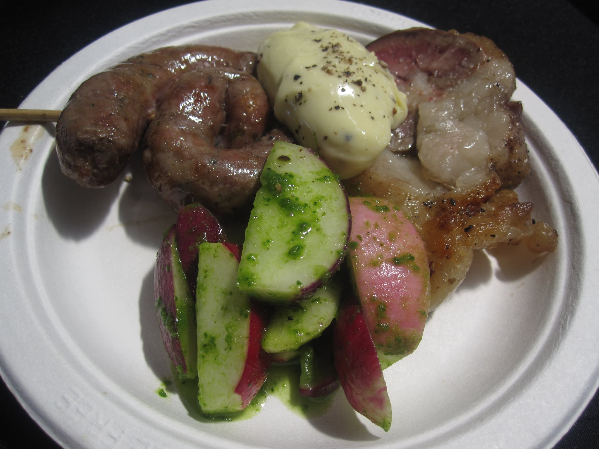 The most out-there preparation was this lamb sausage and lamb kidney dish. It was served with minted radishes and a hay-infused aioli.