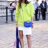Punchy brights looked especially cool against a crisp, white asymmetrical skirt.