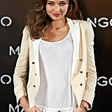 Miranda Kerr smiled for photos.