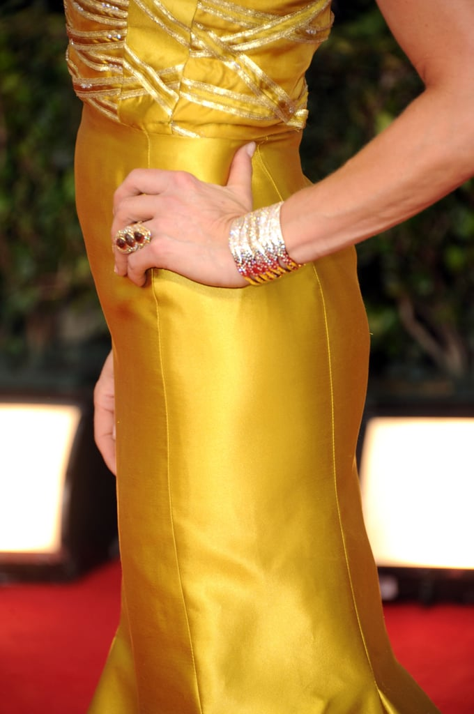 Lara Spencer went for a sculptural ring and a strong gold cuff.