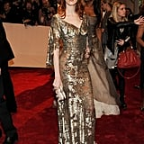 Karen Elson made a bold statement in a sheer sequined McQueen gown.