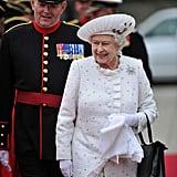 Queen Elizabeth was radiant in white.
