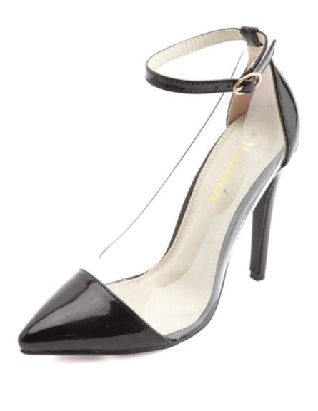 Charlotte Russe Lucite Pointed Cap-Toe Pump