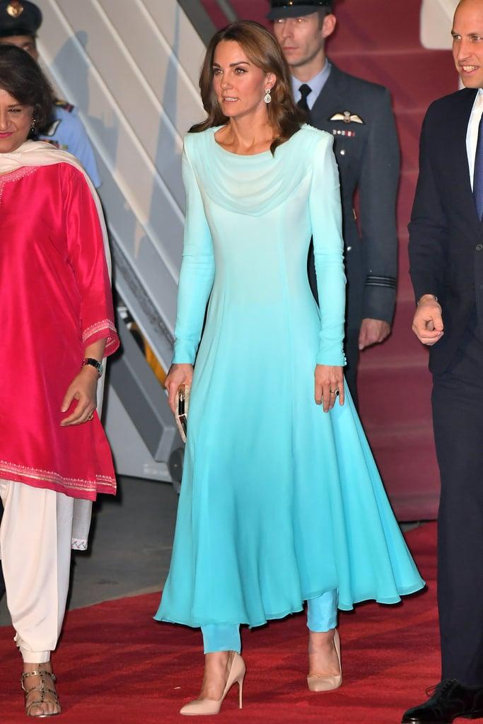 Kate Middleton in a Blue Catherine Walker Dress in Pakistan, 2019