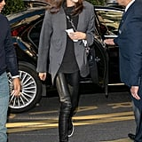 Kaia Gerber Accessorised Her Gray Blazer and Leather Leggings With a White Bucket Hat