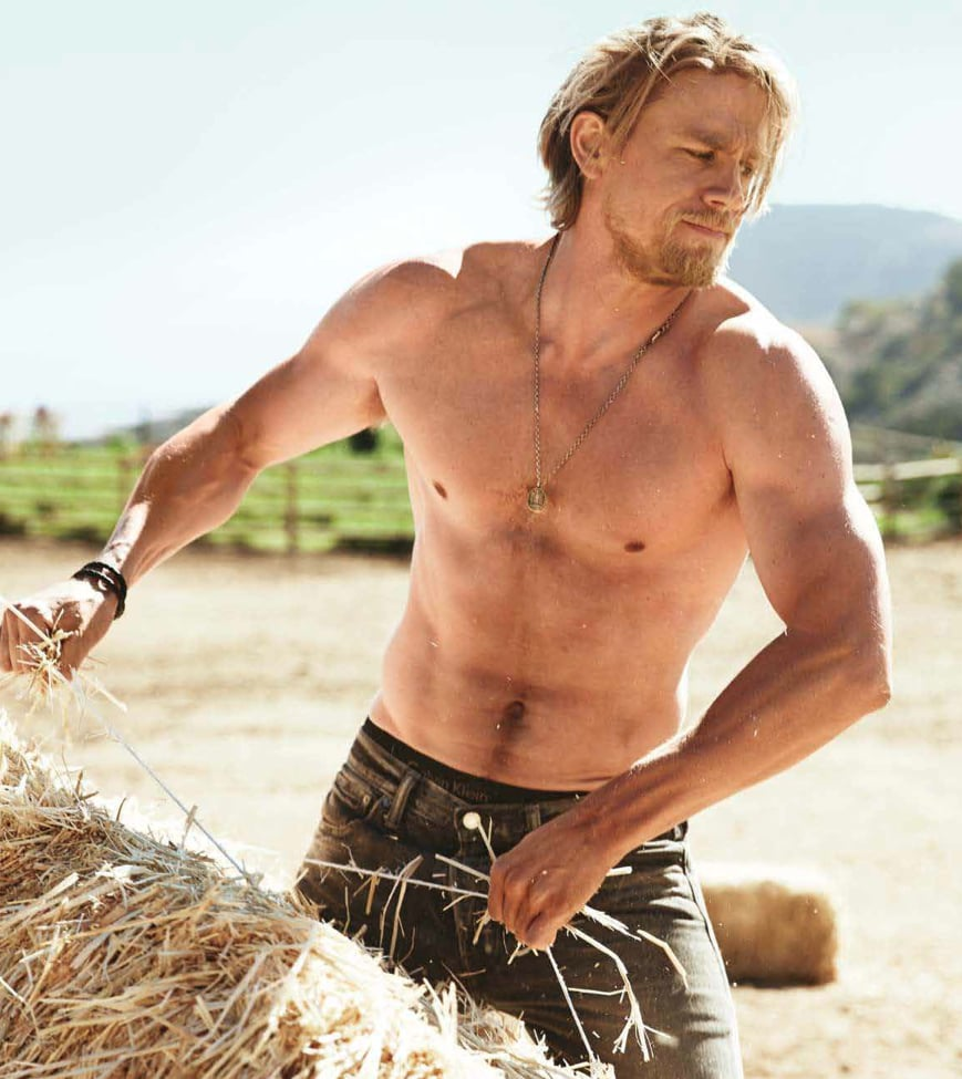 """Sons of Anarchy star Charlie Hunnam covers the December issue of Men's Health, and you don't even have to be a fan of the TV show to appreciate the sexy photo shoot. The handsome actor went shirtless for one of the inside shots, and on the cover, he flashes a cute smile while showing off his arms. In the interview, he opens up about fame, his TV character, and what it was like to back out of Fifty Shades of Grey. He explained that it was a matter of time and his schedule, saying, """"There's a tendency in this Hollywood machinery to take on too much. You end up not being able to give everything you want."""" For more Charlie Hunnam eye candy, take a look at some of his sexiest moments on Sons of Anarchy, and you can check out his full interview in the December issue of Men's Health, which is on sale now."""