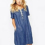 Noisy May Cadance Lace Up Denim Dress ($69)