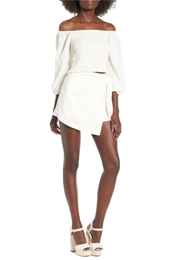White Off-the-Shoulder Top and Miniskirt