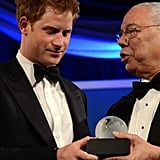 Colin Powell presented Prince Harry with the Distinguished Humanitarian Leadership Award on stage in Washington DC.